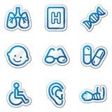 Medicine web icons set 2, blue contour sticker. Vector web icons. Easy to edit, scale and colorize Stock Image
