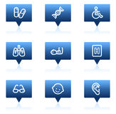 Medicine web icons set 2, blue speech bubbles. Vector web icons set. Easy to edit, scale and colorize Stock Image