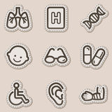 Medicine web icons set 2, brown contour sticker. Vector web icons set. Easy to edit, scale and colorize stock illustration