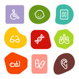 Medicine web icons set 2, colour spots series. Vector web icons, colour spots series. Easy to edit, scale and colorize Royalty Free Stock Image