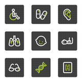 Medicine web icons set 2, grey square buttons. Vector web icons set. Easy to edit, scale and colorize vector illustration