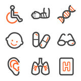 Medicine web icons set 2, orange and gray contour. Vector web icons, orange and gray contour series Royalty Free Stock Photography