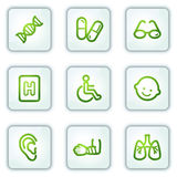 Medicine web icons set 2, white square buttons. Vector web icons set. Easy to edit, scale and colorize Royalty Free Stock Photo