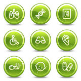 Medicine web icons set. Vector web icons, green glossy circle buttons series Royalty Free Stock Images