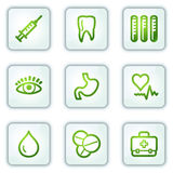 Medicine web icons, white square buttons series. Vector web icons set. Easy to edit, scale and colorize Royalty Free Stock Photography