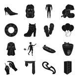 Medicine, wedding, sports and other web icon in black style. Royalty Free Stock Images