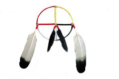 Medicine Wheel. A hand crafted Native American medicine wheel,showing the colors of the four races, over white Stock Photography