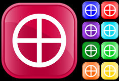 Medicine Wheel icon. Of Native Spirituality on shiny square buttons Royalty Free Stock Photos