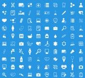 Medicine white icon set. Medicine icon set, simple white images on blue background Royalty Free Stock Photos