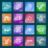 Medicine white icons on color buttons. Vector icons set for websites, guides, booklets Stock Images