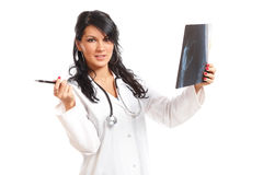 Medicine woman doctor with x-ray royalty free stock photos