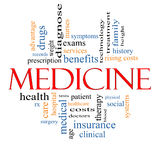 Medicine Word Cloud Concept. With great terms such as records, exams, symptoms, patient, costs, blood, clinical and more Royalty Free Stock Photos