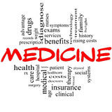 Medicine Word Cloud Concept in Red and Black. Letters with great terms such as rx, exams, symptoms, patient, costs, blood, clinical and more Stock Images