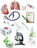 medicinen objects sset Arkivbilder