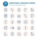 Mediciner linje symboler för doseringformer Apotekmedikament, minnestavla, kapslar, preventivpillerar antibiotikum, vitamin, smär stock illustrationer