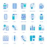 Mediciner linje symboler för doseringformer Apotekmedikament, minnestavla, kapslar, preventivpillerar, antibiotikummar, vitamin,  royaltyfri illustrationer