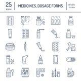 Mediciner linje symboler för doseringformer Apotekmedikament, minnestavla, kapslar, preventivpillerar, antibiotikummar, vitaminer vektor illustrationer
