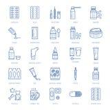 Mediciner linje symboler för doseringformer Apotekmedikament, minnestavla, kapslar, preventivpillerar, antibiotikummar, vitaminer stock illustrationer