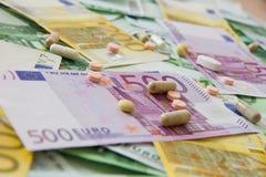 Mediciner och euroet Arkivbild