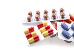 Mediciner på vit bakgrund Royaltyfri Bild
