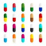 Mediciner - preventivpiller- eller kapselsymbolsuppsättning på vit bakgrund Fotografering för Bildbyråer