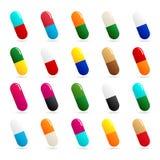Mediciner - preventivpiller- eller kapselsymbolsuppsättning på vit bakgrund Arkivbilder