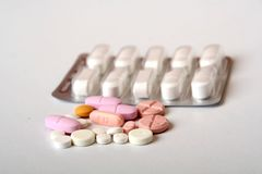 Medicines. Pills, tablets and isolated background Stock Images