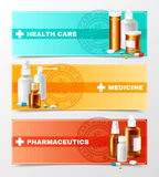 Medicines Banners Set Stock Photo