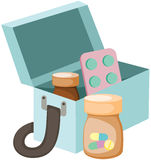 Medicines box. Illustration of isolated medicines box on white Stock Photos