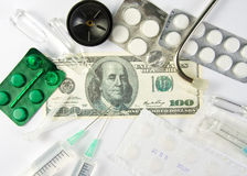 Medicines costs money Royalty Free Stock Image