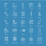 Medicines, dosage forms blue line icons. Pharmacy medicament, tablet, capsules, pills, antibiotics, vitamins. Painkillers, aerosol spray. Medical threatment Royalty Free Stock Photo