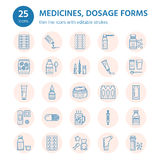 Medicines, dosage forms line icons. Pharmacy medicaments, tablet, capsules, pills antibiotic, vitamin, painkiller Royalty Free Stock Photos