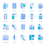 Medicines, dosage forms line icons. Pharmacy medicaments, tablet, capsules, pills, antibiotics, vitamin, painkillers. Medicines, dosage forms line icons Royalty Free Stock Photography