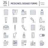Medicines, dosage forms line icons. Pharmacy medicaments, tablet, capsules, pills, antibiotics, vitamins, painkillers. Aerosol spray. Medical threatment health vector illustration