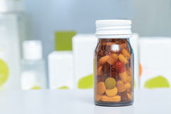 Medicines in a drug store Stock Photos