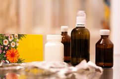 Medicines on the glass table stock photography