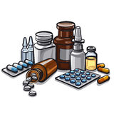 Medicines. Group of drugs and medicines Royalty Free Stock Photos