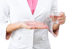 Medicines in hand close-up Stock Image
