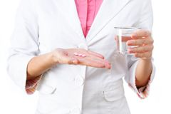 Medicines in hand close-up Royalty Free Stock Photo