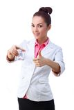 Medicines in hand of doctor, thumbs up Royalty Free Stock Photo