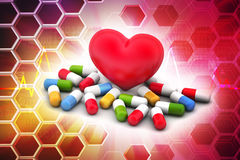 Medicines with heart Stock Image