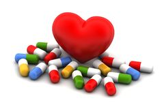 Medicines with heart Stock Photo