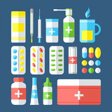 Medicines isolated on dark background. Royalty Free Stock Photography