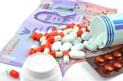 Medicines and medical bills. Stock Photos