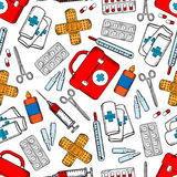 Medicines and medical supplies seamless pattern Stock Photography