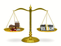 Medicines and money on scales. Isolated 3D Royalty Free Stock Photography