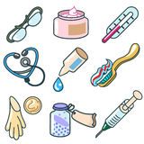 Medicines and pharmaceutical products icon set Royalty Free Stock Images