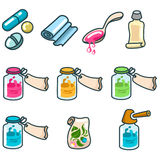 Medicines and pharmaceutical products icon set Stock Images