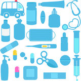 Medicines, Pills, Medical Equipments in Blue Royalty Free Stock Images
