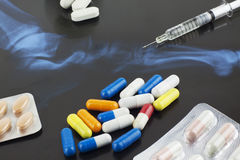 Medicines on a sheet of x-ray Royalty Free Stock Images